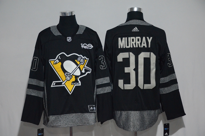 NHL Pittsburgh Penguins 30 Murray Black 1917-2017 100th Anniversary Stitched Jersey