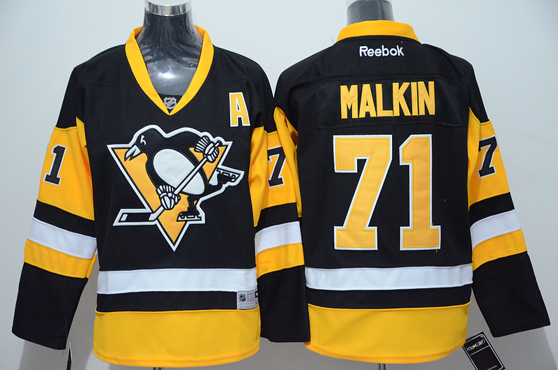 NHL Pittsburgh Penguins 71 Evgeni Malkin Black 2015 Jerseys