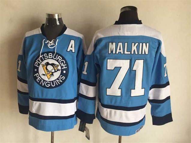NHL Pittsburgh Penguins 71 malkin blue Throwback Jersey