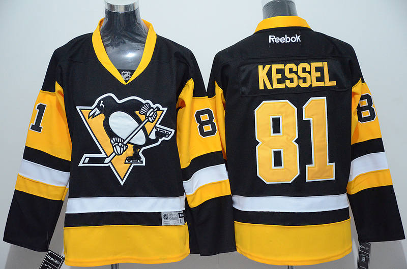 NHL Pittsburgh Penguins 81 Phil Kessel Black Yellow 2015 Jerseys