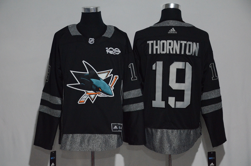 0a953f3e7 NHL San Jose Sharks 19 Thornton Black 1917-2017 100th Anniversary Stitched  Jersey