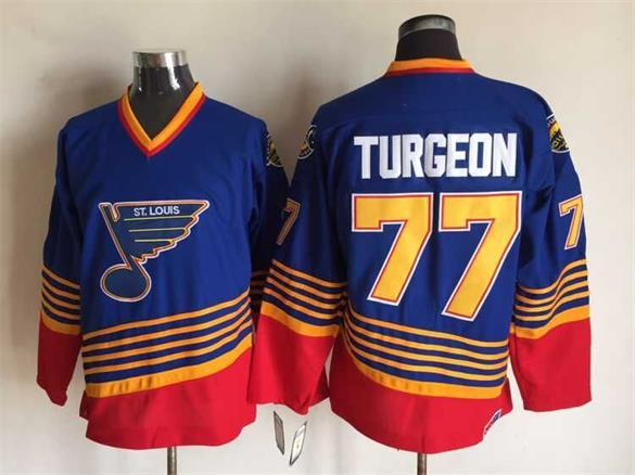 NHL St. Louis Blues 77 Turgeon blue CCM Throwback Jersey
