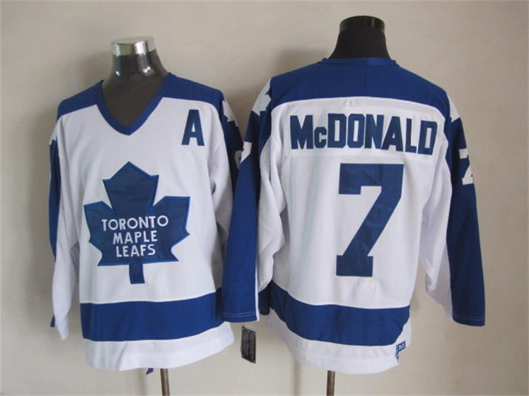 NHL Toronto Maple Leafs 7 Tim Horton White CCM Vintage Throwback