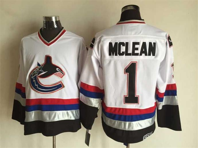 NHL Vancouver Canucks 1 Mclean White CCM Vintage Throwback