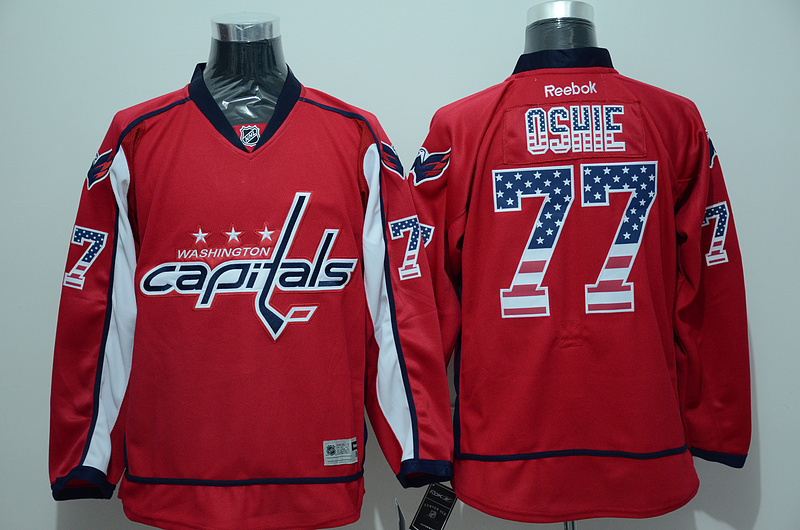 NHL Washington Capitals 77 oshie red USA Flag Fashion Jersey