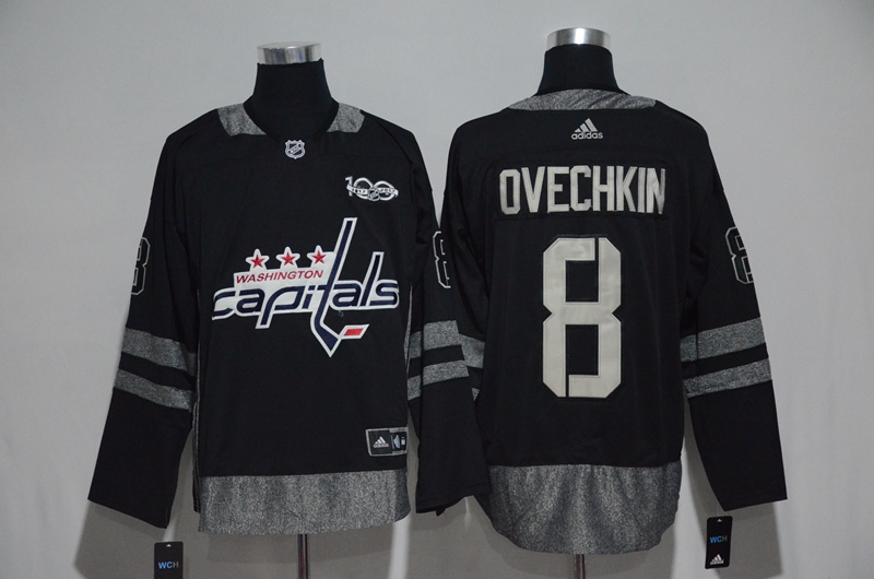 NHL Washington Capitals 8 Ovechkin Black 1917-2017 100th Anniversary Stitched Jersey