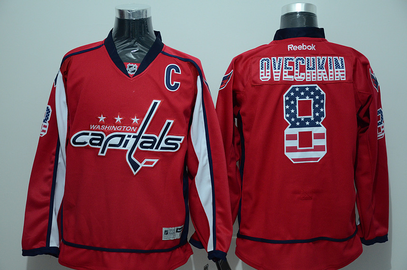 NHL Washington Capitals 8 ovechkin red USA Flag Fashion Jersey