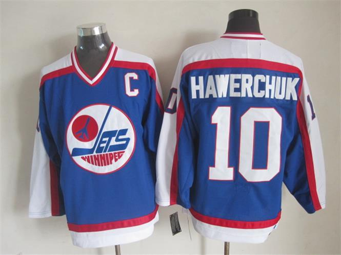 NHL Winnipeg Jets 10 Hawerchvk Blue Throwback Jersey