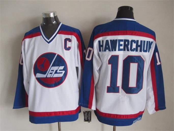 NHL Winnipeg Jets 10 Hawerchvk white CCM Throwback Jersey