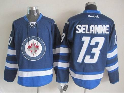 NHL Winnipeg Jets 13 Selanne Blue 2015 Jerseys