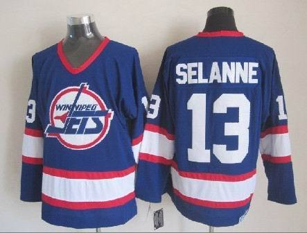 NHL Winnipeg Jets 13 Selanne Blue CCM Throwback Jersey
