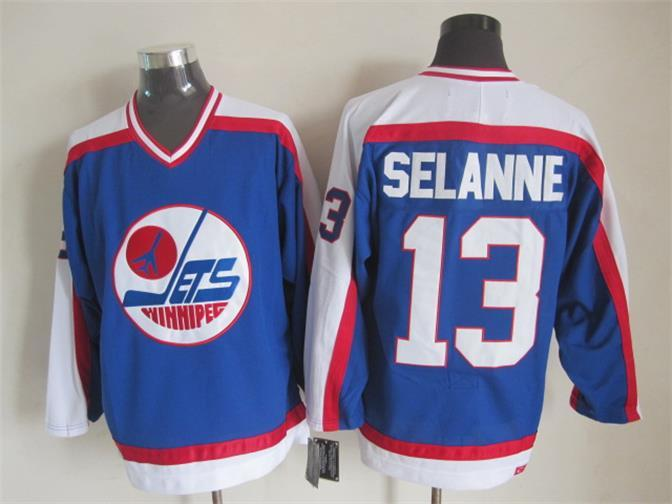 NHL Winnipeg Jets 13 Selanne Blue Throwback Jersey