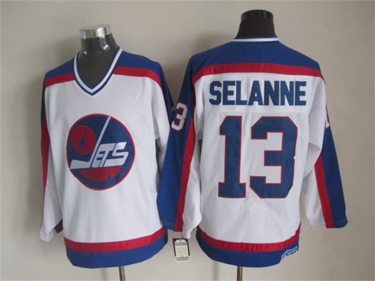 NHL Winnipeg Jets 13 Selanne white CCM Throwback Jersey
