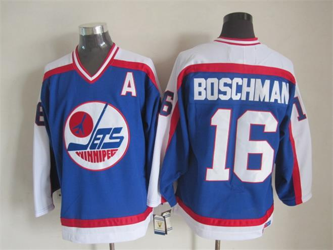 NHL Winnipeg Jets 16 Boschman Blue Throwback Jersey