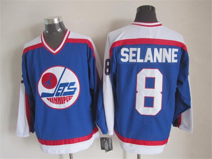NHL Winnipeg Jets 8 Selanne Blue Throwback Jersey