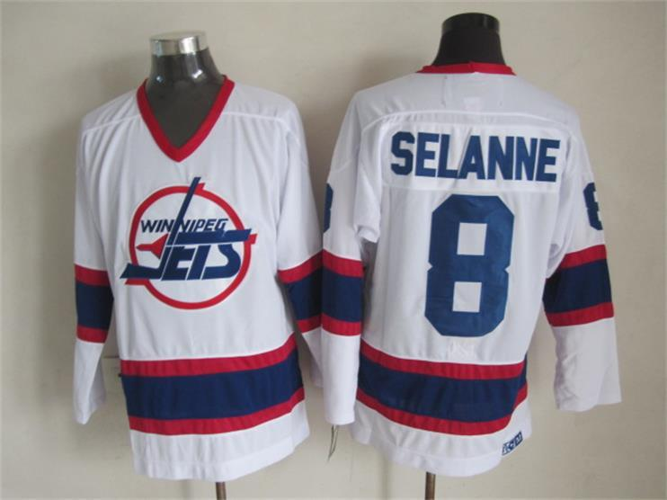NHL Winnipeg Jets 8 Selanne white CCM Throwback Jersey