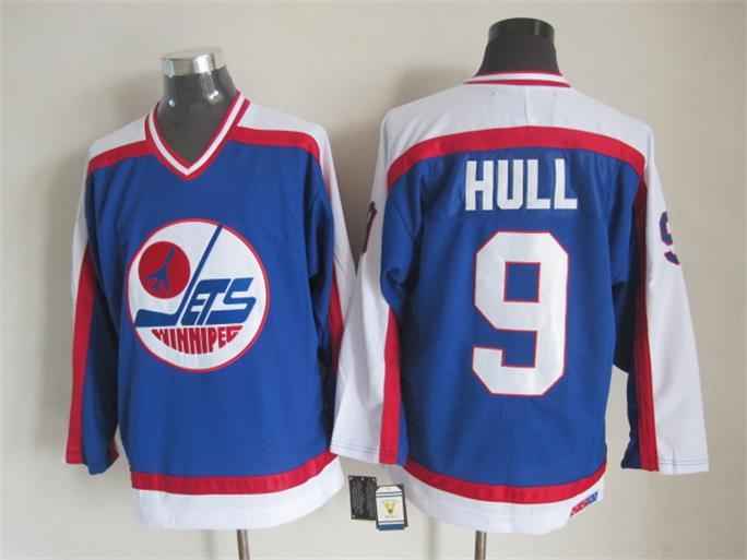 NHL Winnipeg Jets 9 Hull Blue Throwback Jersey