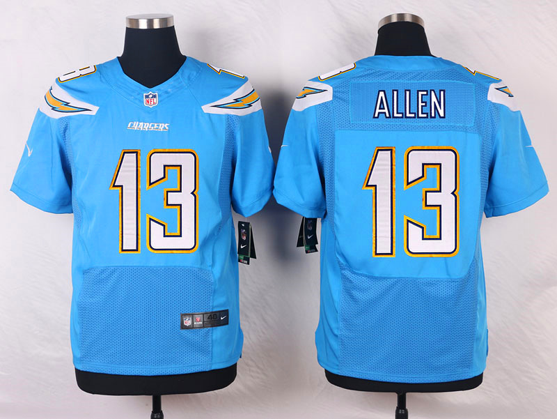 NFL Customize Los Angeles Chargers 13 Allen Light Blue Men Nike Elite Jerseys