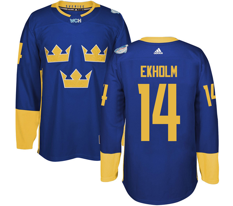 Sweden Hockey 14 Ekholm blue World Cup of Hockey 2016 adidas Stitched Jersey
