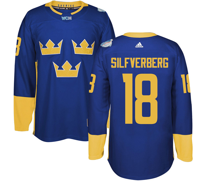 Sweden Hockey 18 Silfverberg blue World Cup of Hockey 2016 adidas Stitched Jersey