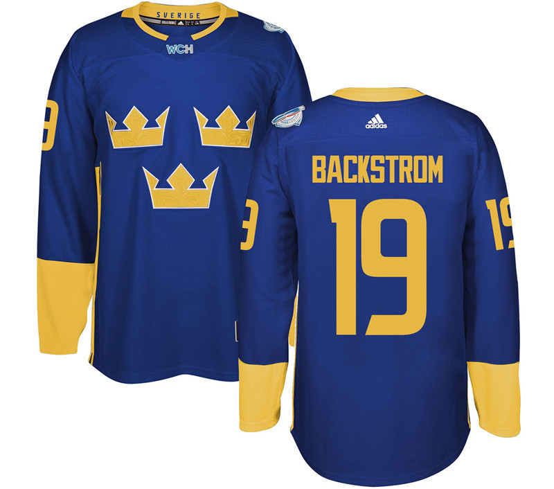 Sweden Hockey 19 Backstrom blue World Cup of Hockey 2016 adidas Stitched Jersey