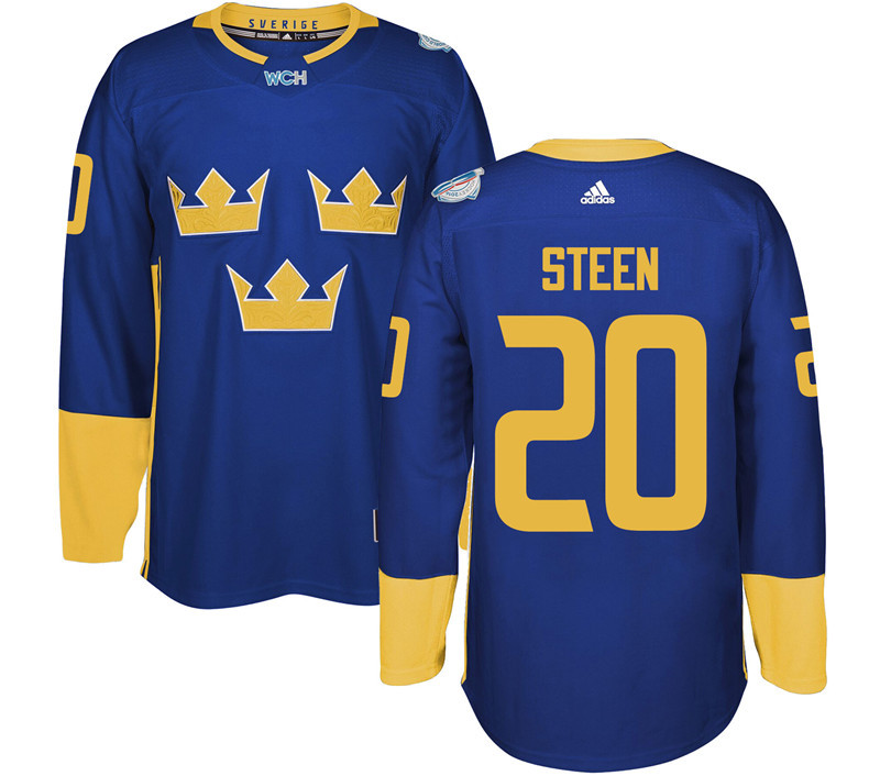 Sweden Hockey 20 Steen blue World Cup of Hockey 2016 adidas Stitched Jersey
