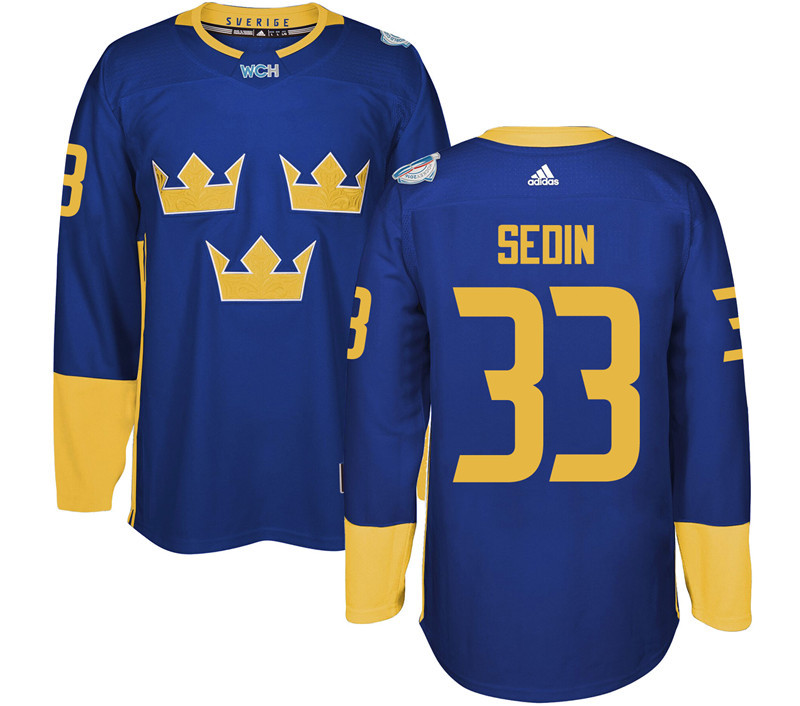 Sweden Hockey 33 Sedin blue World Cup of Hockey 2016 adidas Stitched Jersey
