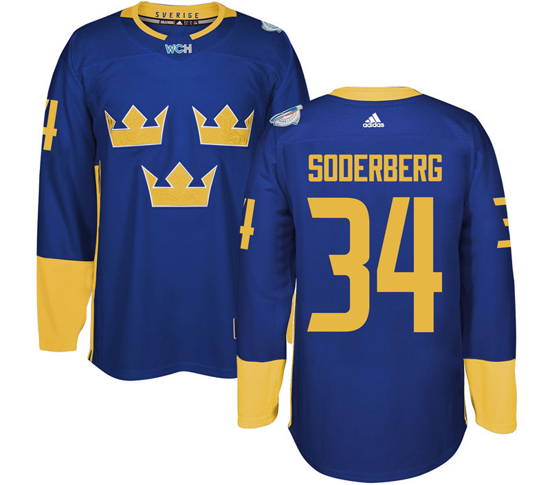 Sweden Hockey 34 Soderberg blue World Cup of Hockey 2016 adidas Stitched Jersey