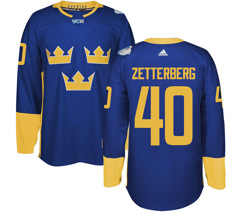 Sweden Hockey 40 Zetterberg blue World Cup of Hockey 2016 adidas Stitched Jersey