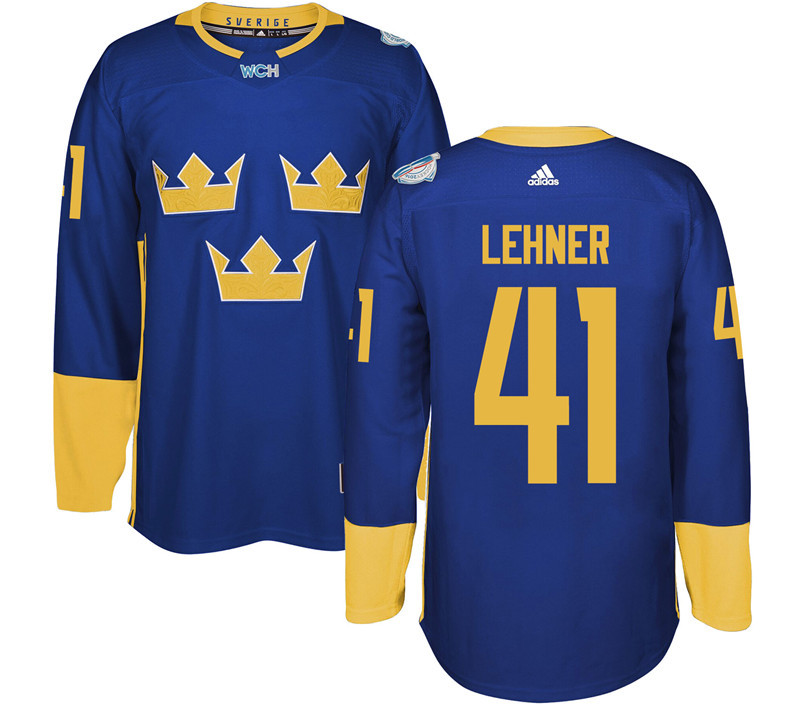 Sweden Hockey 41 Lehner blue World Cup of Hockey 2016 adidas Stitched Jersey
