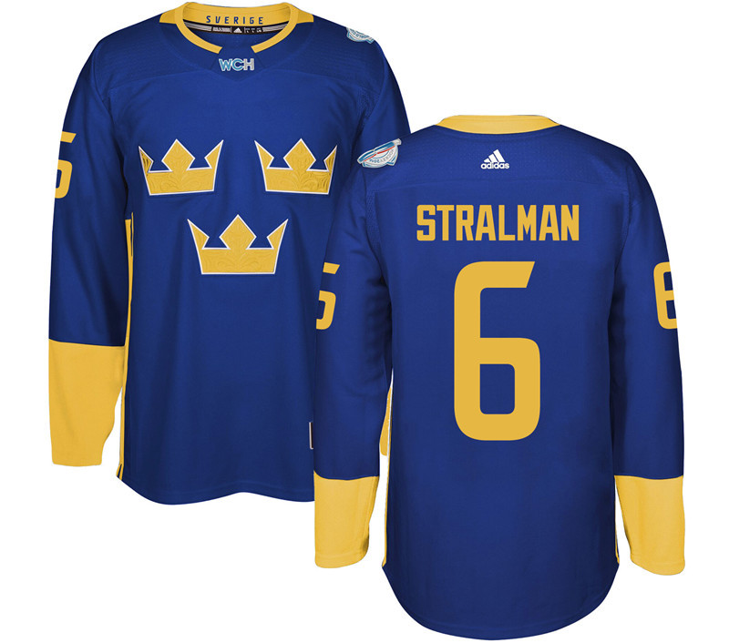 Sweden Hockey 6 Stralman blue World Cup of Hockey 2016 adidas Stitched Jersey