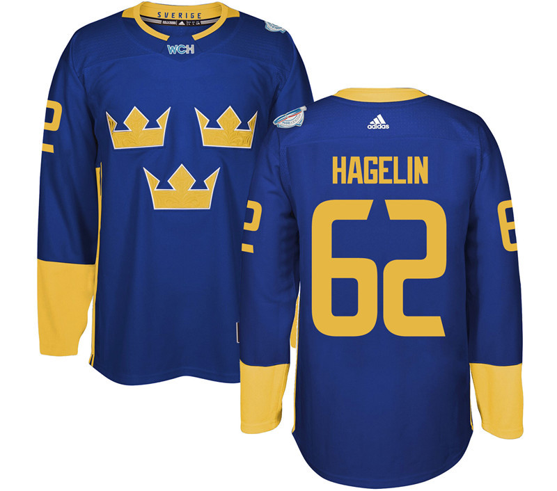Sweden Hockey 62 Hagelin blue World Cup of Hockey 2016 adidas Stitched Jersey