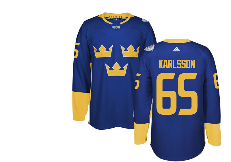 Sweden Hockey 65 Karlsson blue World Cup of Hockey 2016 adidas Stitched Jersey
