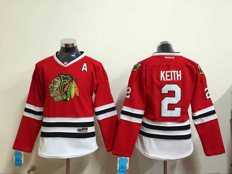 Womens NHL Chicago Blackhawks 2 Keith Red 2015 Jerseys