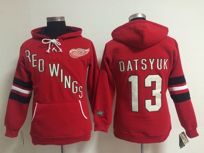 Womens NHL Detroit Red Wings 13 Pavel Datsyuk Lace Up Pullover Hooded Sweatshirt