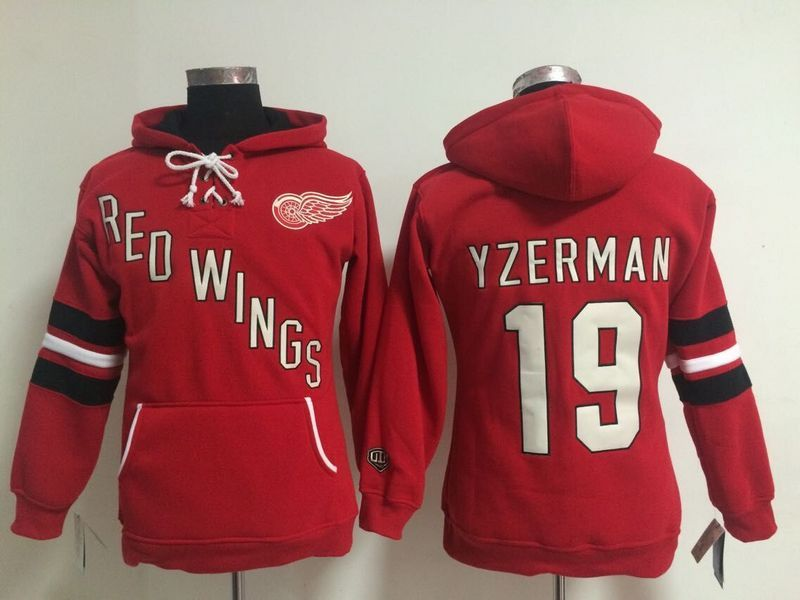 Womens NHL Detroit Red Wings 19 Steve Yzerman Lace Up Pullover Hooded Sweatshirt