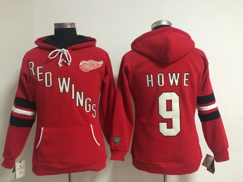 Womens NHL Detroit Red Wings 9 Gordie Howe Lace Up Pullover Hooded Sweatshirt