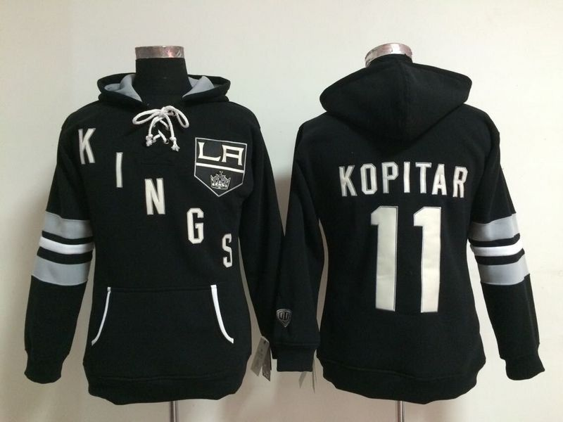 Womens NHL Los Angeles Kings 11 Anze Kopitar Lace Up Pullover Hooded Sweatshirt