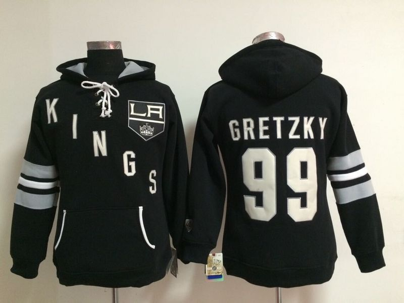 Womens NHL Los Angeles Kings 99 Wayne Gretzky Lace Up Pullover Hooded Sweatshirt