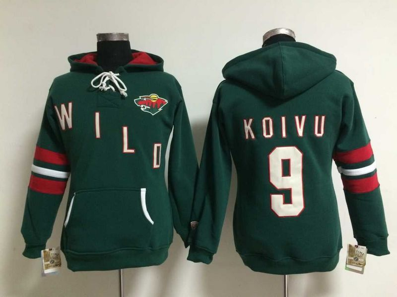 Womens NHL Minnesota Wild 9 Mikko Koivu Lace Up Pullover Hooded Sweatshirt