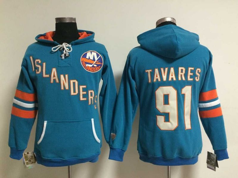 Womens NHL New York Islanders 91 John Tavares Lace Up Pullover Hooded Sweatshirt