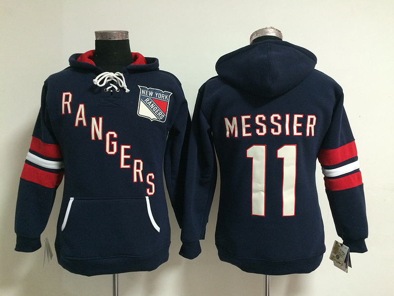 Womens NHL New York Rangers 11 Mark Messier Lace Up Pullover Hooded Sweatshirt