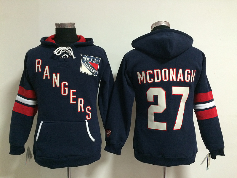 Womens NHL New York Rangers 27 Ryan McDonagh Lace Up Pullover Hooded Sweatshirt