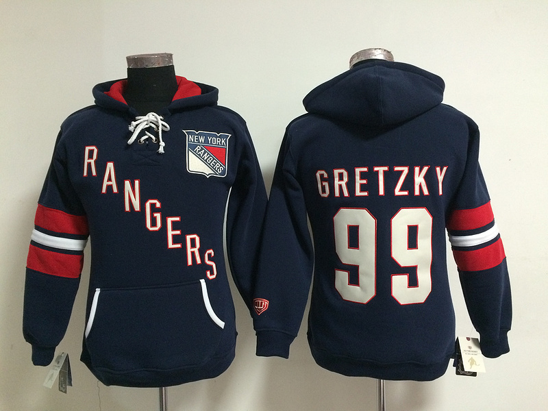 Womens NHL New York Rangers 99 Wayne Gretzky Lace Up Pullover Hooded Sweatshirt