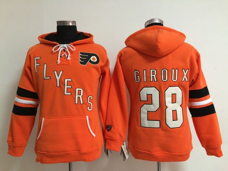 Womens NHL Philadelphia Flyers 28 Claude Giroux Lace Up Pullover Hooded Sweatshirt