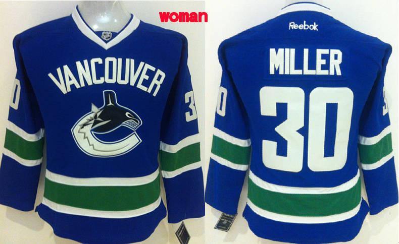 Womens NHL Vancouver Canucks 30 Miller Blue 2015 Jerseys