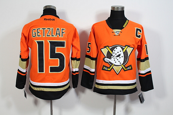 Youth NHL Anaheim Ducks 15 Ryan Getzlaf Orange 2015 Jerseys