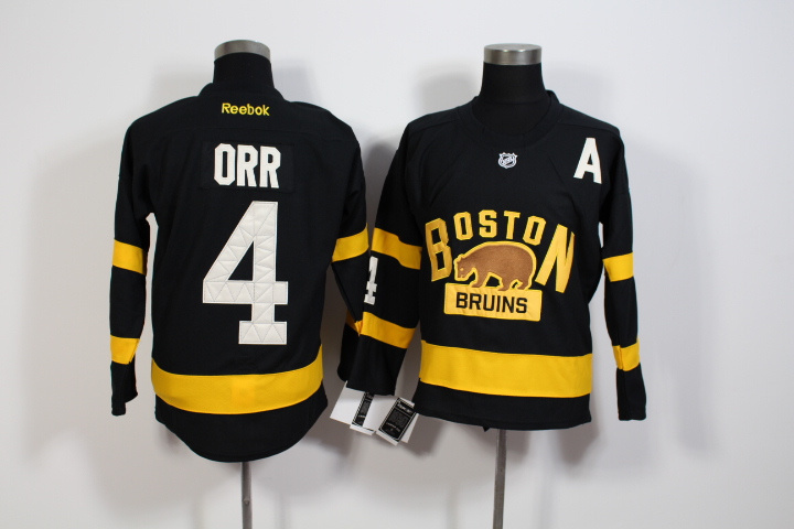 Youth NHL Boston Bruins 4 Bobby Orr Black 2016 Winter Classic Premier Jersey