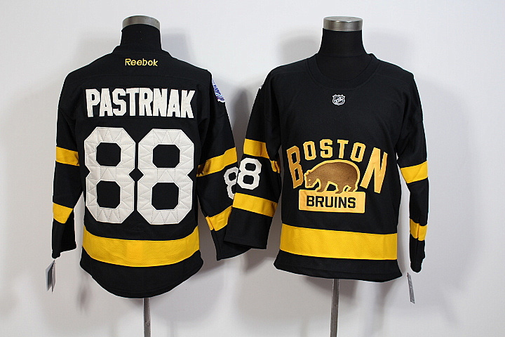 Youth NHL Boston Bruins 88 David Pastrnak Black 2016 Winter Classic Premier Jersey