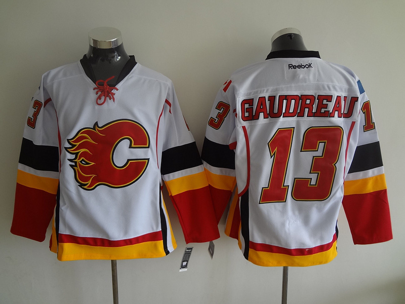 Youth NHL Calgary Flames 13 Johnny Gaudreau White 2015 Jerseys